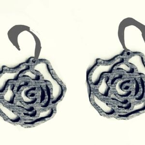 Black rose wooden earrings